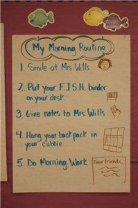 """Morning Routine: I like how it says """"Smiles at Ms. Wills"""" lol"""