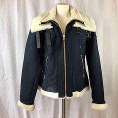 Moose Knuckles Women Large Short Aviator Navy Blue Jacket Coat for sale online Fashion Deals, Moose, Online Price, Motorcycle Jacket, Aviation, Navy Blue, Best Deals, Coat, Jackets