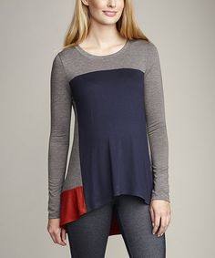 Take a look at this Navy & Rust Color Block Maternity Tunic by Maternal America on #zulily today!