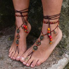 FIRE MANDALA barefoot SANDALS foot jewelry hippie sandals toe anklet beaded crochet barefoot tribal sandal festival acai seed yoga wedding