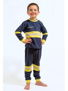 Kleiner #Feuerwehrmann ganz groß: #Kinderschlafanzug im Design der #Einsatzkleidung der #Feuerwehr.