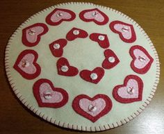 Handstitched Valentines HEARTS and BUTTONS Wool-Felt Penny Rug-Candlemat