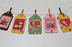 Fabric Tags tutorial - looks like an interesting way to make tags for Christmas presents!