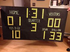 DiY scoreboard. Perfect for football themed party. Tar paper, chalk, foam sheets.