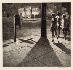 Steven Heller takes a look at the work of Martin Lewis, the printmaker who taught Edward Hopper the craft of etching. Edward Hopper, Norman Rockwell, Rockwell Kent, Art Graphique, Wood Engraving, Old Master, Luxor, City Streets, New York