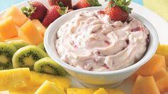 Strawberry-Orange Fruit Dip (1 package (8 oz) cream cheese 1/4 cup powdered sugar 1/2 tsp grated orange peel 1/2 cup chopped strawberries)