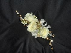 Elegant White Rose Corsage with Gold Berries : Mother's Corsage