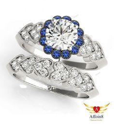 1.50CT Round Cut Diamond & Sapphire Women's Bridal Band Ring Set 14K White Gold  #Affoin8