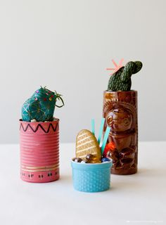 Rock cacti in found containers by Hallmark designer Allyson Lassiter | thinkmakeshareblog.com