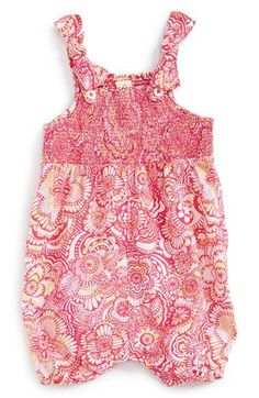Tucker + Tate Floral Smocked Cotton Romper (Baby Girls) available at #Nordstrom