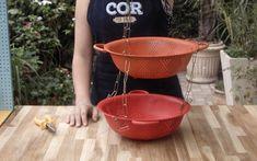 Aprenda a fazer um criativo vaso de planta usando escorredor de macarrão!