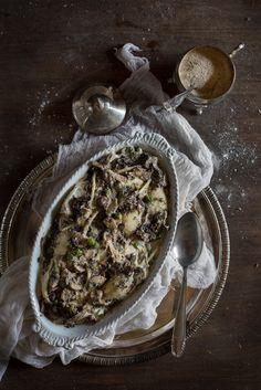 Italian October - Vegan Boscaiola Pasta bake (Mushrooms, Truffle and Peas) for Earthsprout   Hortus Natural Cooking