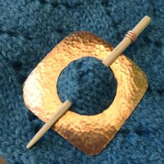 Shawl Pin  Hammered Copper Square