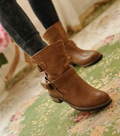 Women's Fashion Low Heel Mid-calf Strappy Round Toe Boot Shoes