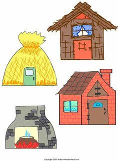 Three Little Pig Clipart set / Fairy Tale Activities, Preschool Activities, Activities For Kids, Crafts For Kids, Three Little Pigs Houses, Fairy Tale Crafts, Nursery Rhymes, Teaching Kids, Paper Dolls