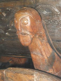 Carved figurehead artifact, Viking Ship Museum, Oslo, Norway.