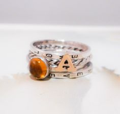 Alphabet & A Drop of Sunshine // Personalized Stacking Ring in Sterling Silver, 14K Gold and Yellow Citrine