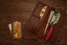 Slim wallet Mark III is thin and convenient to use. It is handmade from high quality leather, without machine stitch and no glue. Minimalist,