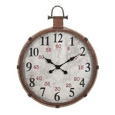 Wall Clocks 20561: New Aged Rust Finish Large Numbers Wall Clock Rope Accent Vintage Beach Ocean -> BUY IT NOW ONLY: $225.4 on eBay!