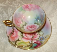 Lefton, pedestal, handpainted tea cup