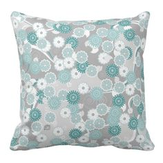 Shop Pretty Abstract Floral Pattern in Teal and Grey Throw Pillow created by ArtformPatterns. Blue And Grey Bedding, Teal And Grey, Aqua Blue, Blue Green, Grey Dinner Plates, Grey Plates, Grey Throw Pillows, Grey Cushions, Sofa Pillows