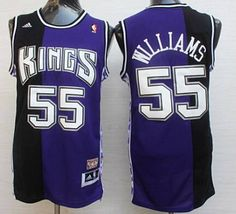 Men s Sacramento Kings  55 Jason Williams PurpleBlack Hardwood Classics  Soul Swingman Throwback Jersey 84d859605