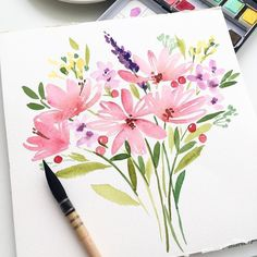 Morning ☺️🌸 flowers were painted in the style 😉 Do you want to watch a process of painting this bouquet? Please write in the comments. Watercolor Cards, Watercolor Illustration, Watercolor Flowers, Easy Flower Painting, Flower Art, Easy Flowers To Paint, Watercolor Painting Techniques, Watercolor Paintings, Watercolors