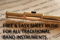 Dozens of free sheet music files for beginning band students.  Easy, well known melodies of summer camp songs, patriotic tunes,  Christmas Carols, and folk songs.