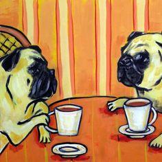 pug coffee dog gift animal art tile coaster