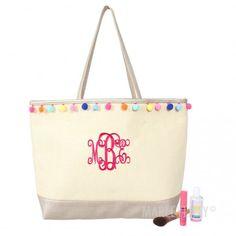 Monogrammed Pom Pom Tote Bag | Marleylilly