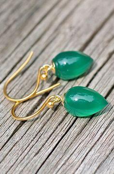 Dark Green Inverted Tear Drop Onyx Earrings
