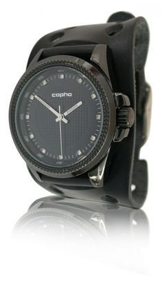 https://www.cityblis.com/item/6804  Princess - Black, at 20.00% off by Copha Watches  Copha watch - Princess - Black/Black hippie leather strap - 40mm case / 11mm thick / 76 gram, Movement: Seiko Y121, Black Hippie strap - Vegetable tanned leather - Made in Denmark, 10ATM water resistant.