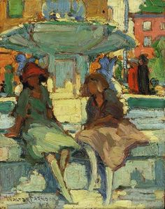 ۩۩ Painting the Town ۩۩  city, town, village & house art - Walter Farndon, At the Fountain