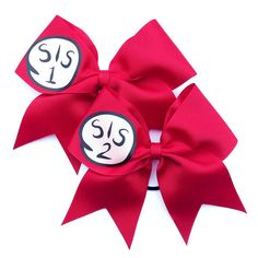 Cheerleading Hair Bow 3 inch with Sis 1 or Sis 2 decal, more numbers available, by LuckyGirlCheerBows, $10.00