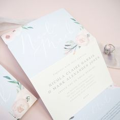 Pink and grey floral four page concertina style wedding invitations by Project Pretty Luxury Wedding Invitations, Wedding Stationery, Paper Goods, Pink Grey, Pretty In Pink, Place Card Holders, Floral, Projects, Style