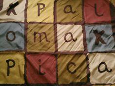 "Vintage 1990s PALOMA PICASSO LOGO Silk SCARF. 33.5""x33.5"" square"