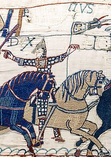 Eustace II, Count of Boulogne. Fought on the Norman side at the Battle of Hastings. One of the few proven companions of William the Conqueror. great grandfather on mom's side) Bayeux Tapestry, Medieval Tapestry, Medieval Art, Medieval Embroidery, Embroidery Art, Embroidery Stitches, Embroidery Patterns, Vikings, Romanesque Art