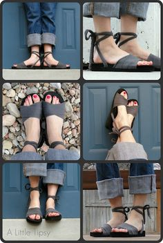 DIY/Tutorial: Upcycled shoes, made from an old t-shirt and flip flops.    These are so cute - and I can make them as wide as I need them to be, plus I bet that tshirt material is super soft across your feet.