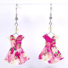 Boucles d'oreilles robes origami roses et dorées - crochets inox