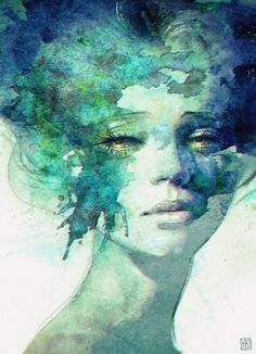 Portrait by Anna Dittmann Watercolor Portraits, Watercolor Paintings, Watercolor Trees, Watercolor Landscape, Abstract Paintings, Oil Paintings, Painting Art, Turquoise Wall Art, Illustrator