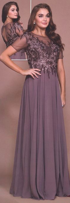 Evening Dresses Mother of Bride Dresses by ANABEL<BR>ana5141<BR>Illusion sheer scoop neckline beaded applique bodice with short sleeves, keyhole back and long skirt.