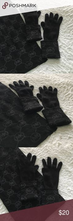 "Michael Kors Scarf & Glove Set Set of Michael Kors gloves & scarf. They're black w/ gray MK pattern. Have been worn but are in good condition. No stains or tears. The sewing on the middle finger of the right hand glove looks very slightly different from the others at the top but it was purchased this way. It's very subtle and most people would probably never notice. Scarf is about 64"" long. 100% acrylic.   🛍 Bundle & Save: 20% off 2+ items!  🙅🏻 No trades / selling off Posh.  ✔️ Reasonable…"