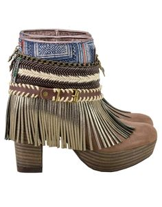 Emonk Ibiza Boho Custom Made High Heel Boots - BROWN | Shop SWANK Love these, but in man made materials instead of leather.