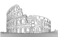 Line Drawing, Drawing Sketches, Cool Art Drawings, Pizza Roma, Rome, Doodles, Architectural Drawings, Illustration, Work Of Art