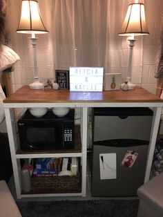 Dorm refrigerator and microwave storage cabinet made from College Bedroom Decor, Cool Dorm Rooms, College Dorm Rooms, Girl Dorm Decor, College Dorm Storage, Dorm Room Storage, Dorm Kitchen, Dorm Fridge, Dorm Room Designs