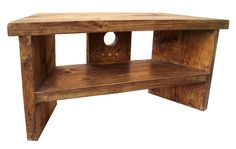 Solid Wood Handmade Rustic Pine Corner Tv Stand / Unit