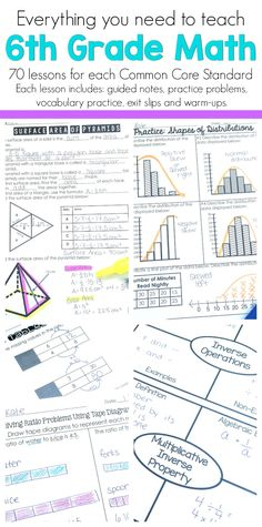 Everything you need to teach 6th grade math is included in this set. There are 70 individual lessons that each include guided notes, practice problems, vocabulary practice, warm-ups, and exit slips. Rigorous and engaging for all students. Classroom tested lessons!