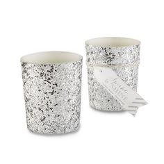 Kate Aspen Sparkle and Shine Glitter Votive, Silver, Set of 4