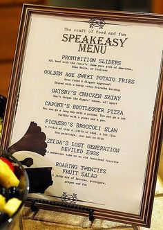 speakeasy party menu | 1920s speakeasy party | A Good Hue
