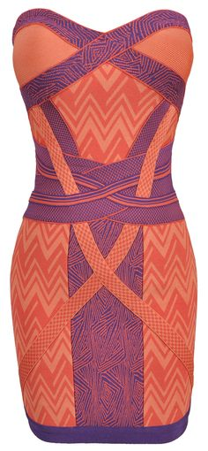 'Evelyn' Geometric Coral Strapless Bandage Dress in the style of Evelyn Lozada